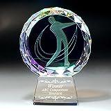 【Bella Robe】2Dクリスタルスポーツトロフィー806 ゴルフ コンペの景品・表彰に最適 希望彫刻対応