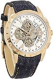 [サルバトーレマーラ]Salvatore Marra 腕時計 クロノグラフ デニムベルト レザー 革ベルト 自動巻き風 スケルトン風 メンズ レディース ... [並行輸入品]