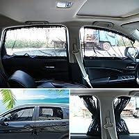 Andux ランドカー ウィンドウ日よけカーテン、日よけ紫外線保護、PBCL-01 (2枚)。 50S ブラック PBCL-01
