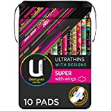 U BY KOTEX Ultrathins U By Kotex Designer Series Ultrathin Pads Super with Wings (Pack of 10), Pack of 10 0.098 kilograms
