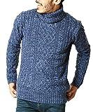 JIGGYS SHOP (ジギーズショップ) ニット セーター メンズ タートルネック ケーブル編み 厚手 長袖 防寒 ボーダーM C ライトインディゴ