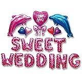 Happiest 大人 誕生日 結婚式 アルミバルーン [ 文字 ハート ] セット バースデー ウェディング 二次会 パーティー 飾り 風船 演出 (Sweet Wedding:イルカ)