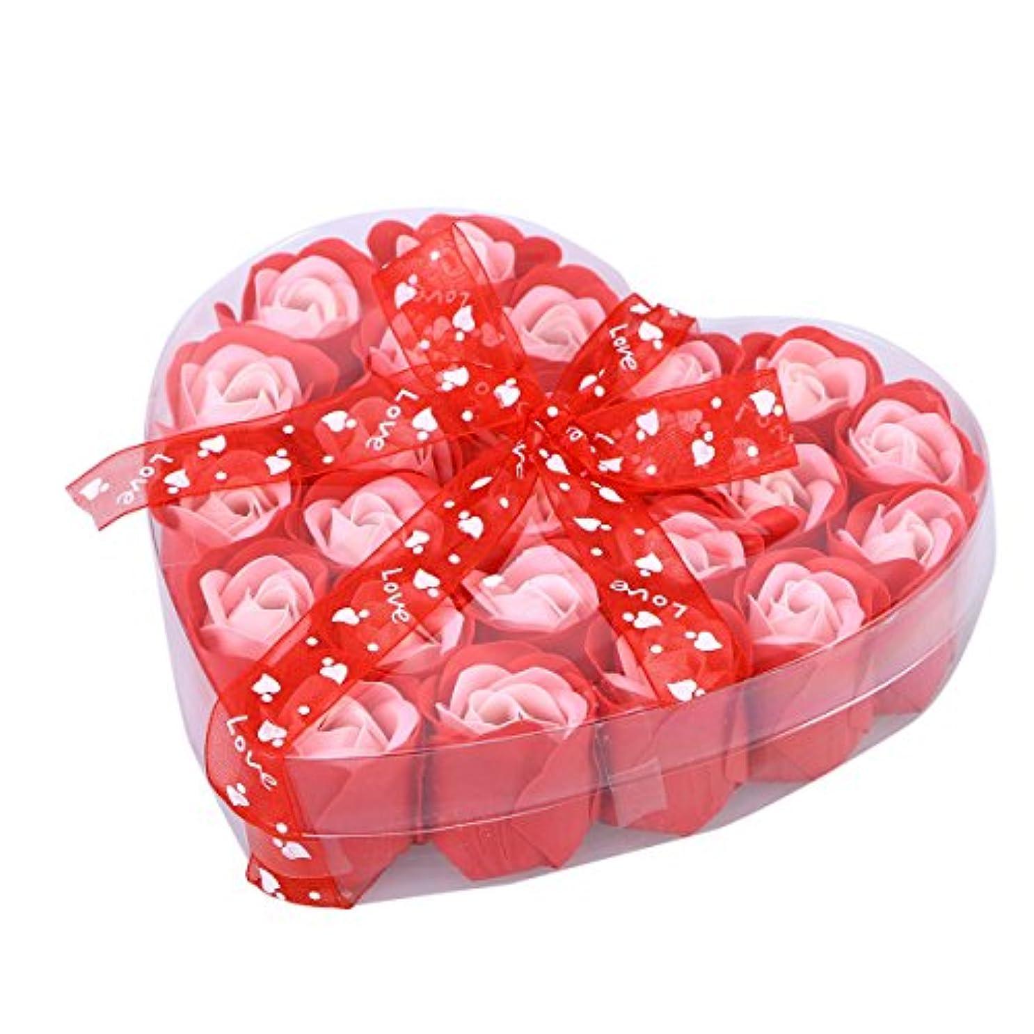 珍味プラスチック収入HEALLILY ローズソープフラワー手作りローズ香り風呂石鹸花びら用ハートボックス友人用家族の贈り物24枚(ランダムリボン)
