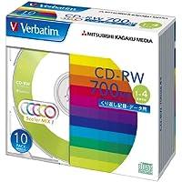 三菱ケミカルメディア Verbatim  くり返し記録用 CD-RW SW80QM10V1 (レーベル5色/1-4倍速/10枚)