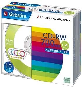 三菱化学メディア Verbatim CD-RW 700MB くり返し記録用 1-4倍速 5mmケース 10枚パック 5色カラーミックス SW80QM10V1