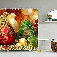 シャワーカーテン 風呂カーテン 間仕切りリーフプリント遮断取付簡単165/180/200*180cmホリデークリスマスの飾り