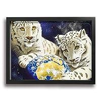 DJIANRONG 白虎の子が地球を大切に 装飾絵画 アートフレーム インテリア絵画 装飾 額縁 フレーム付き 釘付き アート ポスター ウォールアート (40X30cm)