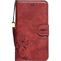 Natural Design 【iPhone 8/7ケース】 Smart Cover Notebook Wine Red 横開き レザー調 手帳型 カードポケット付 ハンドストラップ付