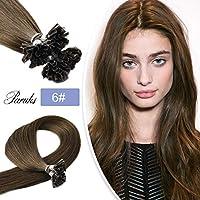 Paruks 最高級のレーミヘアーチップストレートエクステ 人毛Hairウィッグ40CMから70CMまで 25本セット (20inch, 6)