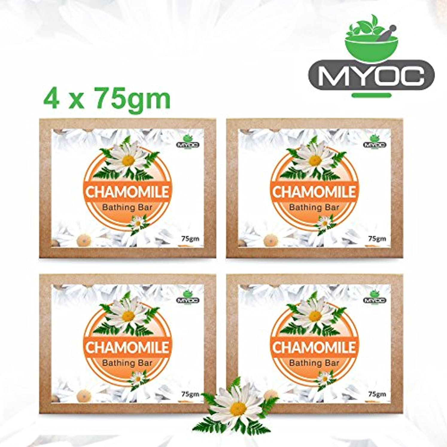 言語テセウス補充Chamomile Extract, Vitamin E and Glycerine soap for sensitive skin, dry skin and eczema 75gm x 4 Pack