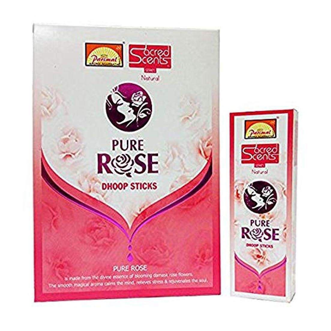 脅迫教え化石Parimal Sacred Scents Pure Rose Dhoop Sticks 50グラムパック、6カウントin aボックス