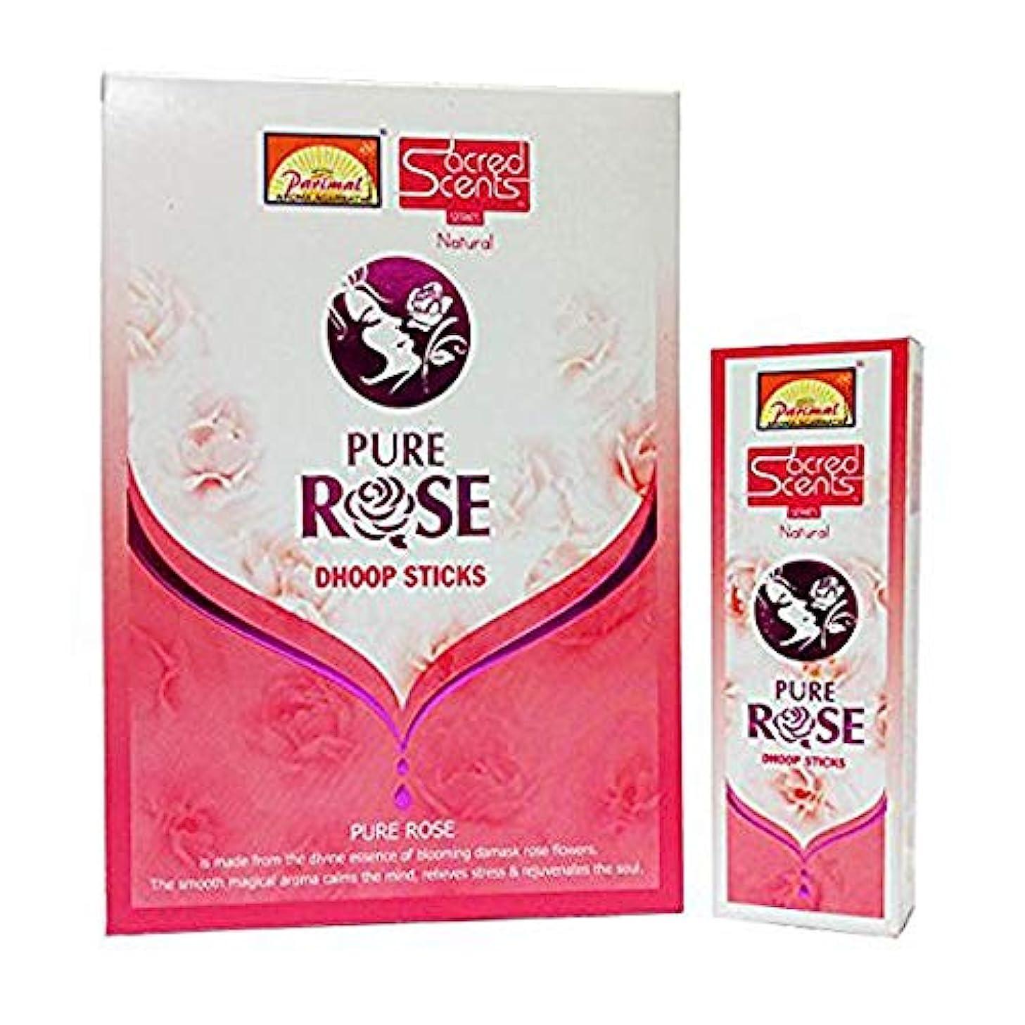医学肉の子供っぽいParimal Sacred Scents Pure Rose Dhoop Sticks 50グラムパック、6カウントin aボックス
