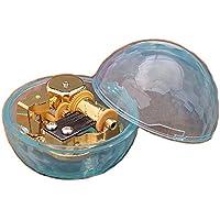 クリエイティブWind - Upアクリルプラスチック透明音楽ボックスwithメッキ。動きで、様々な形状ミュージカルボックス、kiss the rain Ball-shaped Blue