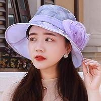 Xiaoyuna 女性の春と夏の季節、水シフォン帽子、日よけの帽子、ビーチの日焼け止め帽子、大型の換気帽、バイオレット