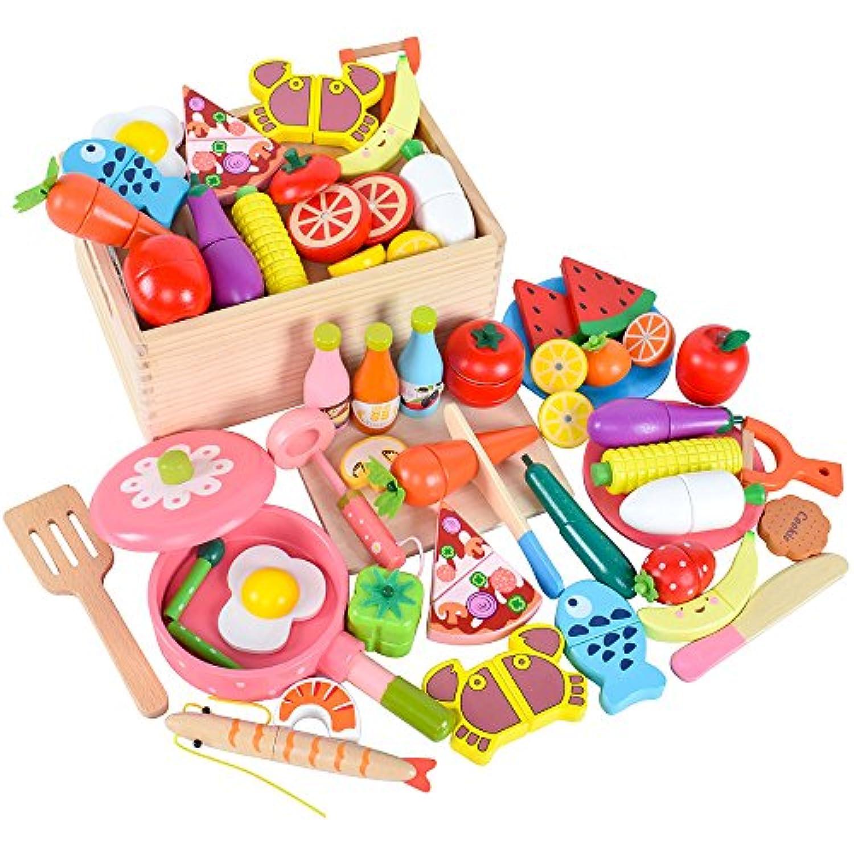 木製 おままごと セット マグネット ごっこ遊び 木のおもちゃ 木のおままごと 切る遊び 人気 きれる食材 料理 野菜 果物 食べ物 フライハ゜ン まな板 お玉 包丁付き 収納木箱入り 磁石式 調理ごっこ キッチン ままごと クッキングセット 学習 知育玩具 2歳 3歳 4歳 5歳 6歳 7歳 赤ちゃん 幼児 子ども 孫 男の子 女の子 小学生に おもちゃ 節句 誕生日 バースデー プレゼント 贈り物 出産祝い 入園お祝い 親子遊び 保育所?児童館用品