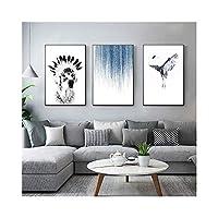 黒と白ヨーロッパスタイルのシンプルな防水フェード耐性絵画の背景正方形の装飾画像アートプリント壁3枚,35*50CM