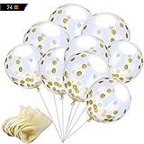 風船24個12インチ金色紙吹雪バルーン、誕生日、結婚式、記念日、その他のお祝いのために飾ります(金色)