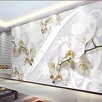 Xbwy カスタム壁画壁紙現代のファッション蛾蘭花壁絵画リビングルームの寝室の背景壁の装飾-280X200Cm
