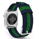 Apple Watch バンド - ATiC Apple Watch 42mm 2015 /Apple Watch 2 42mm(series 2 2016)用 編みナイロン製腕時計ストラップ/バンド/交換ベルト+バンドアダプター/交換ラグ Blue+Green (38mmに対応ない)