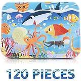 シャークジグソーパズル 水中 海洋世界 カラフルな木製フロアパズルセット 子供用 美しいアートワーク メタルストレージボックス 教育&開発玩具 学習玩具 120ピース コレクター向け
