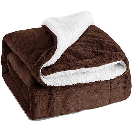 §REIN(レイン)毛布 フランネル ボアフリース生地 フワフワの肌触り 吸湿発熱 あったか シングル ブラウン