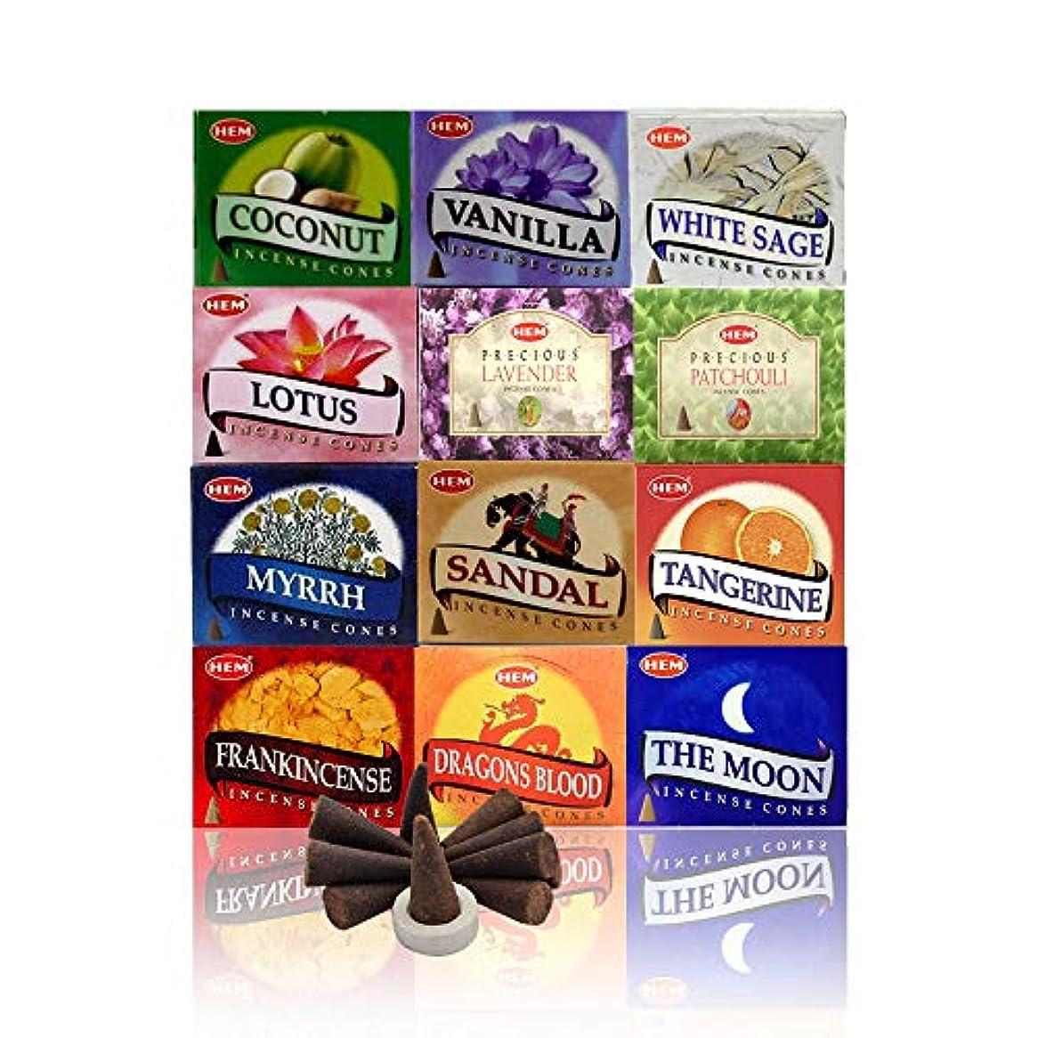 直接じゃないフック12 Assorted Boxes of HEM Incense Cones, Best Sellers Set #2 12 X 10 (120 total) by Hem