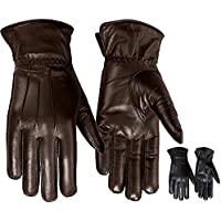 Ladies Warm Winter Gloves Dress Gloves Thermal Lining Geniune Leather Brown (8)