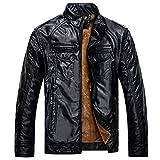 Zicac ジャケット アウターウェア コート 暖か裏起毛 長袖 PUレザー ビジネスジャケット 4色 ファッション メンズ・ボーイズジャケット (L, ブラック)