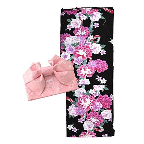 ノーブランド品 福袋 訳あり 女性 浴衣 作り帯 2点セット フリーサイズ F リボン黒