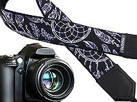 ドリームキャッチャーカメラストラップ。ブラックandホワイトDSLR/SLRカメラストラップ。カメラアクセサリー。04009