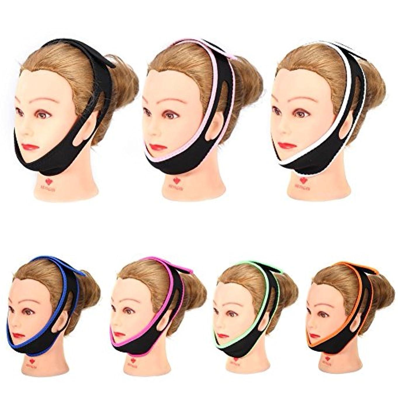 追加する延ばす計画的あごストラップベルト繊細なフェイスリフト7色あごサポートストラップスリムマッサージャー睡眠防止いびきヘッドバンドサポート,White