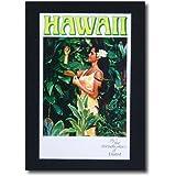 ハワイアンポスター エアラインシリーズ A-46 「ユナイテッドエアライン航空 女の人と植物」 サイズ:31×19cm