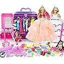 合計123pcs - 洋服パーティーガウンの衣装 人形のアクセサリー靴バッグネックレスミラーハンガー食器 - 人形のドレスアップ ウェディングドール 女の子 家 夢 ワードローブ ギフトボックスセット 12個の関節 子供用ギフト(4人形を含む) ( Color : D 123 pieces )