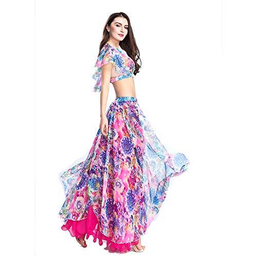 ROYAL SMEELAベリーダンス衣装セット女性シフォンベリーダンススカートとトップスセクシーなダンスドレス衣装ワンサイズ