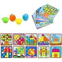 DREAMT ボタン アートカラーマッチングモザイク マッシュルームペグボードセット 教育玩具 子供用 幼児用