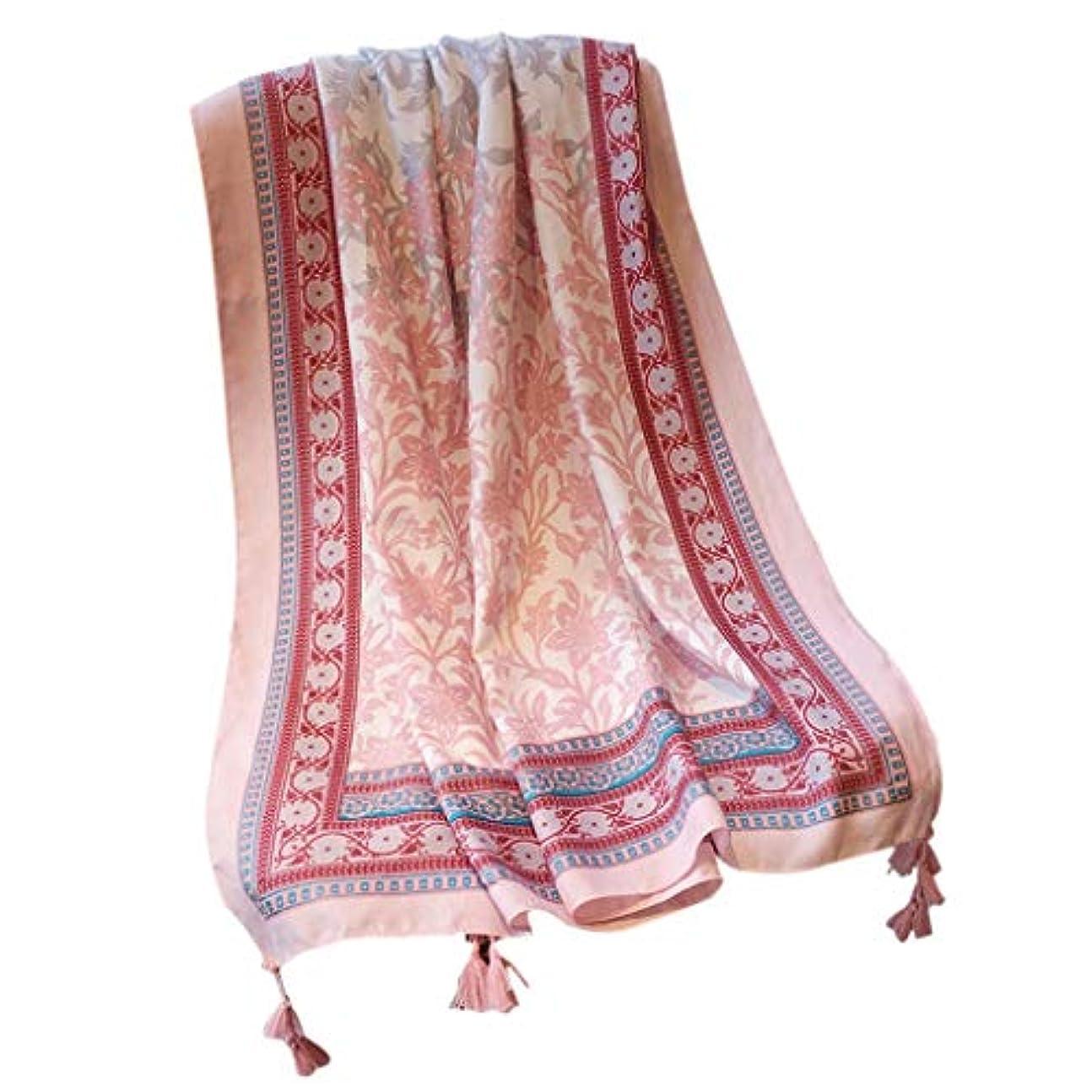 シャワーあご一杯KTYX 綿とリネンのスカーフ女性野生のピンクのトーテムの国の風のショールのショールのビーチタオルの韓国語版 スカーフ