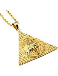 Nyukメンズライオンヘッドピラミッドネックレス