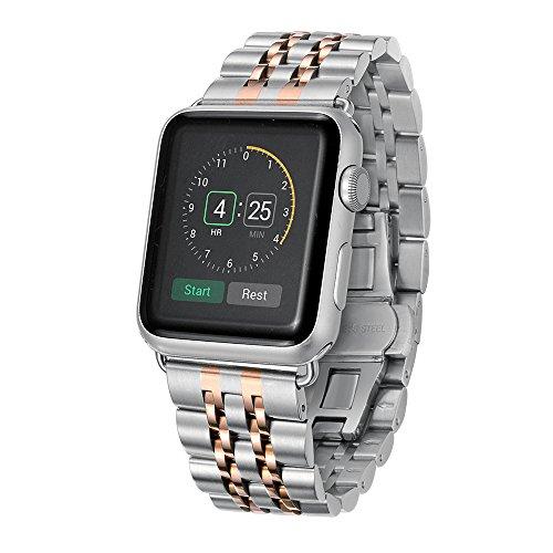 Kartice for Apple Watch用バンド Apple Watch交換ベルト 高級ステンレスベルドApple Watch iWatch用交換ストラップfor Apple WatchSeries 1/ Series 2 (42mm, 銀+金)