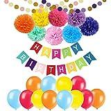 Happy Birthdayバナーデコレーション – cocodeko 8カラフルなPaper Pom Poms Set with 20個バルーンと2個ペーパーガーランド誕生日パーティー用デコレーション