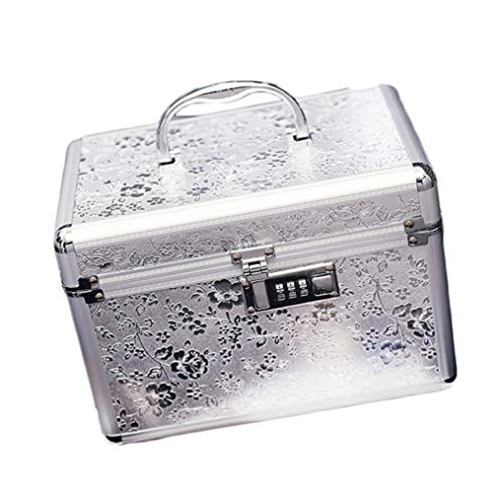 余分な芸術的取り戻すコスメボックス 25.5*17.5*17 メイクボックス トレンチケース 鏡付き かわいい 収納ケース ビューティー 用品 化粧品入れ ネイル 小物入れ シルバー ピンク ベージュ 大容量 メイクボックス 鍵付き 収納