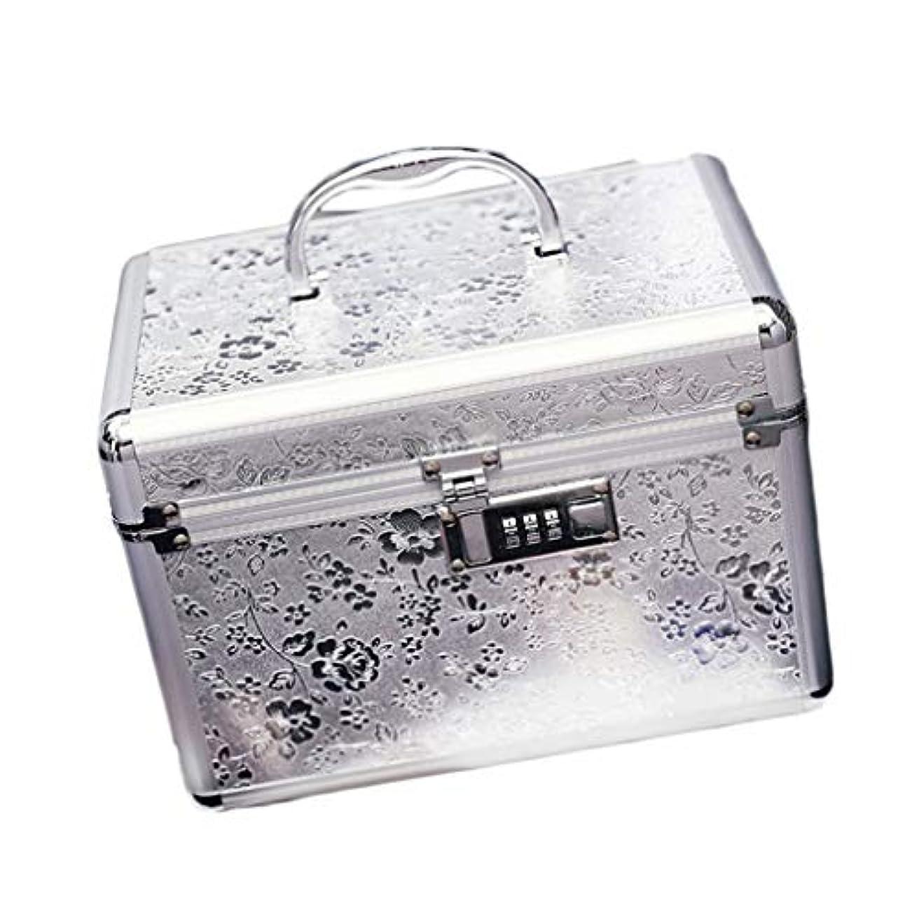 疎外する傑作関税コスメボックス 25.5*17.5*17 メイクボックス トレンチケース 鏡付き かわいい 収納ケース ビューティー 用品 化粧品入れ ネイル 小物入れ シルバー ピンク ベージュ 大容量 メイクボックス 鍵付き 収納