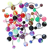 D DOLITY 30 Pieces Metal Acrylic Ball Belly Button Ring Navel Bar Piercing Jewelry Bikini Decor