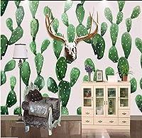 Weaeo 手描きのスカンジナビアスタイルの鹿サボテン写真壁紙の壁紙ホームデコレーションリビングルームベッドルーム壁紙の壁画-350X250Cm