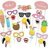 Losuya 21pcs Tropical Flamingoハワイアンスタイル夏パーティー写真ブース小道具キット夜アウトゲームフォトブースHen Party FavorsドレスUpアクセサリー