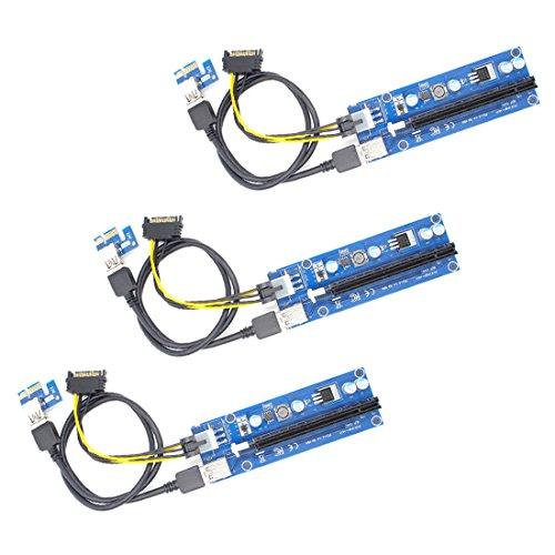 YIKESHU(一本樹)  新型 二重ポート USB3.0 PCI-E Express 1x-16x拡張ライザーアダプターカード ビットコイン採掘 6Pin PCI-Eと15Pin SATA電源ケーブル 60cm延長ケーブル (3pcs)