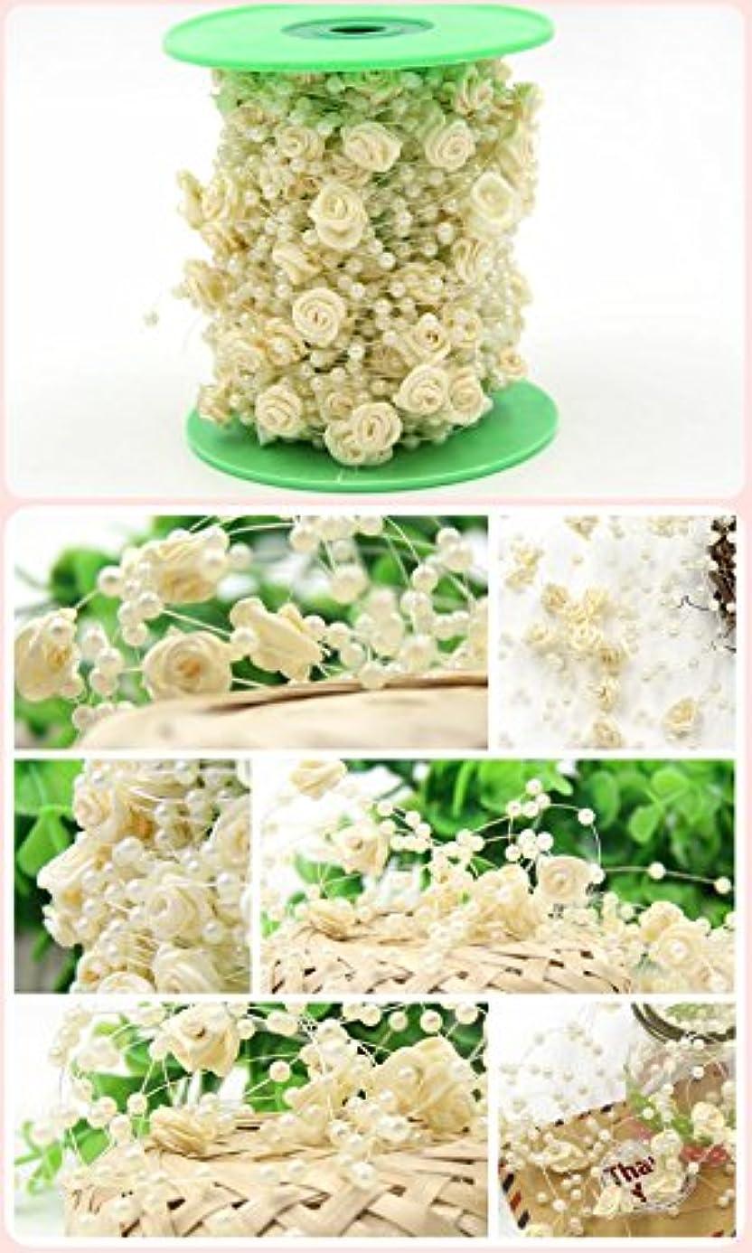弾性コンバーチブル捕虜Ralias - 5Meters /ロット釣りラインウェディングパーティー&ブライダルブーケ花の装飾のための花のビーズチェーンガーランド人工真珠