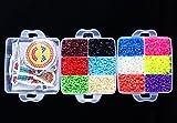 Amadam アイロンビーズ セット 5mm 12色 9000粒 6透明プレート 6図案 2アイロンペーパー 3ピンセット