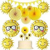 イエローパーティー装飾セット 黄色 女の子 誕生日 ベビーシャワー ひまわり 太陽バルーン ケーキトッパー 太陽花 三角ガーランド ペーパーファン 15個