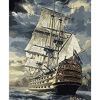 帆船海景絵画by数字キットdiyペイントby数字手塗り油絵家の装飾のためフレームなし40×50センチ
