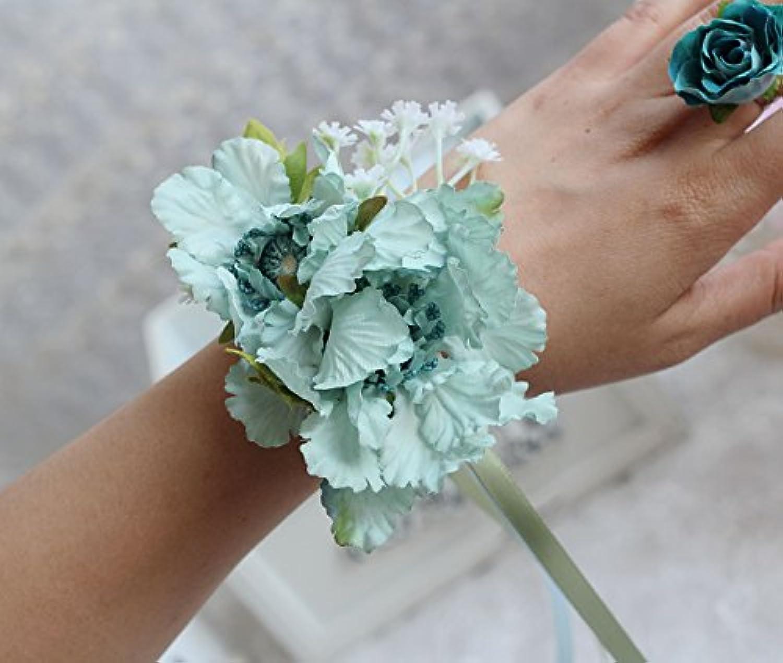 HuaQingPiJu-JP シミュレーションロマンチックな布ロマンチックなブライダルパーティー相手の手首のフラワーアクセサリー(ブルー)
